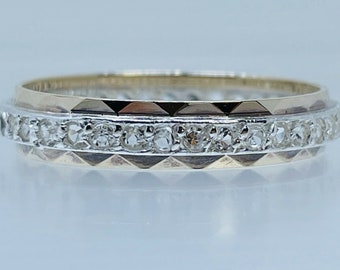 Art Deco 9ct Gold & Silver Diamond Paste Vintage Full Eternity Band Size T 2.2g