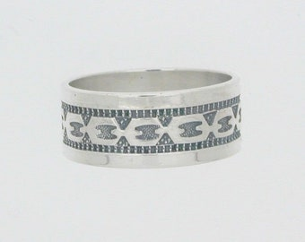 Silver band ring chain link decoration 3.3 grams size L alternative wedding ring