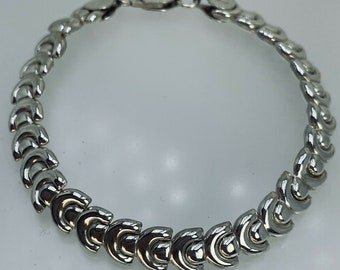 """Sterling Silver Unusual Semicircle Link Chain Bracelet 7 3/4"""" 9.6g Lobster Clasp"""