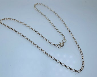 """1985 9ct Yellow Gold 16"""" Long Oval Link Belcher Chain 3.3g Bolt Ring 2.7mm wide"""