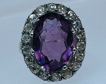 Vintage Silver Amethyst Paste Diamond Paste Ring C1940 French Hallmark size K1/2