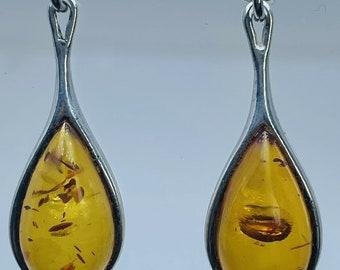 Teardrop Amber Resin & Silver Drop Dangle Earrings Butterfly Studs 31.7mm Long