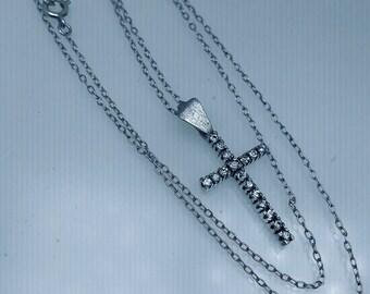 "Vintage Silver Cross French Paste Stones Necklace Pendant 19"" Belcher Chain 2.7g"