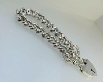 "1973 Vintage Heavy Silver Chain Charm Bracelet Heart Padlock 60.5g 7 1/4"""