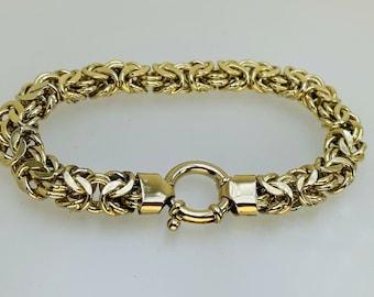 "925 Silver Gilt Chain Mail Link Bracelet Bolt Ring Clasp 18.6g 7 1/2"" Italian"