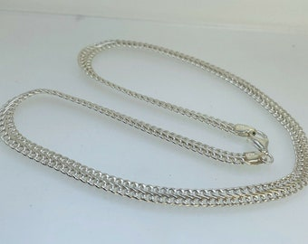 """Silver Figure of 8 Double Link Curb Chain Necklace 18 1/2"""" 18.3g Parrot Clasp"""
