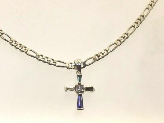 Sterling Silver Multi Coloured Cross Pendant Ameth