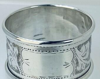 1939 Silver Napkin Serviette Ring 26mm Wide 45.3mm Diam 13.4g Filigree Engraving