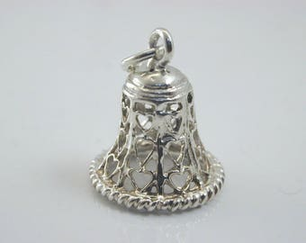 Silver wedding bell charm with filigree hearts marriage 1.4 grams