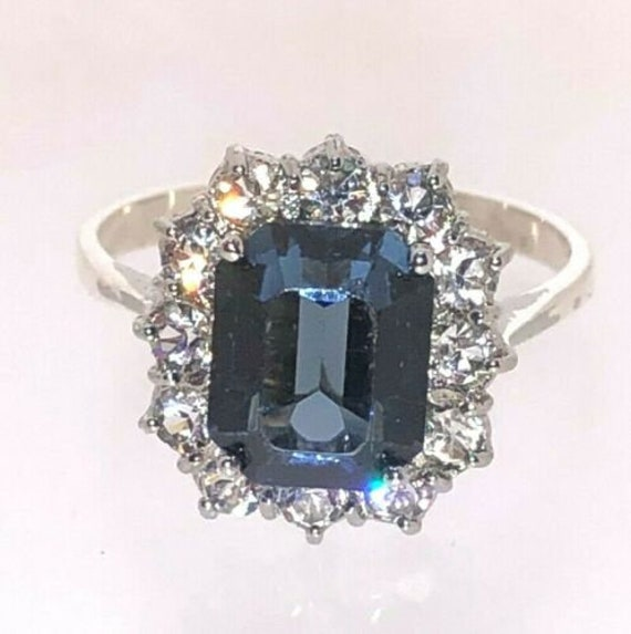 Sterling Silver Sapphire Paste Statement Ring Diam