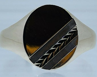Oval Vintage Signet Ring Gents Faceted Plait Design 9ct Yellow Gold size W 3.9g