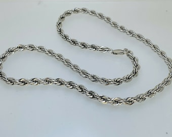 """925 Sterling Silver Twist Rope Style Necklace Chain 4.8mm Wide 18"""" 34.2 Grams"""