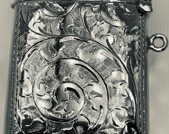 Antique 1910 Edwardian Sterling Silver Ornate Vesta Case 25g 47.6 x 36mm