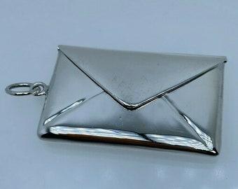 2001 Envelope Stamp Holder Sterling Silver Pendant Charm Hinged Opening 14.7g