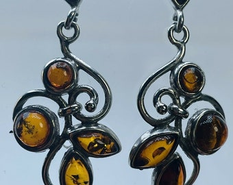 Amber & Silver Tendril Leaf Design Drop Dangle Earrings Butterfly Stud 42.2mm