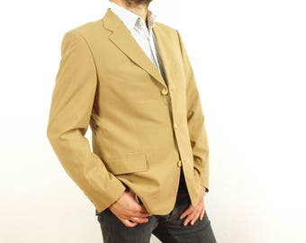 4922fe91c Vintage Hugo Boss blazer, Hugo Boss suit jacket, brown sand color blazer,  Size Eur 52 US 42 Model Angelico / Parma 85% Virgin Wool 25 Nylon