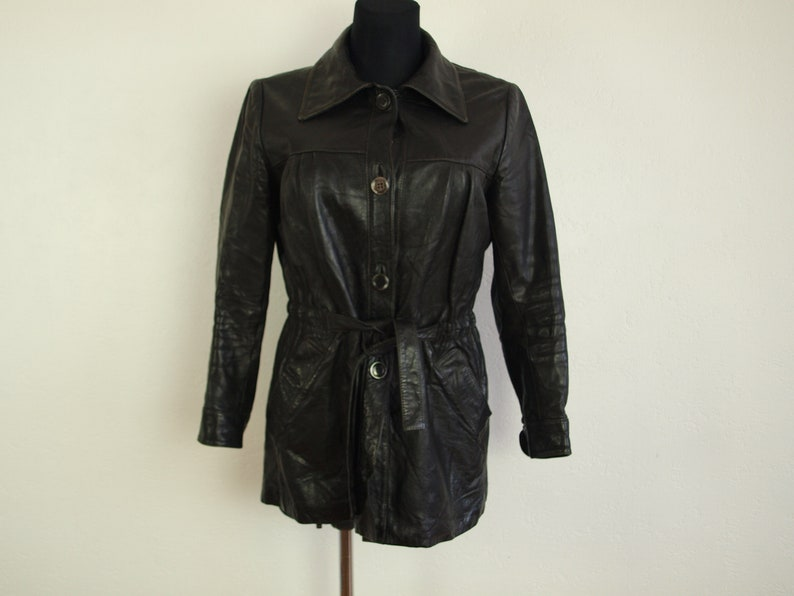 88fc8d643 Vintage Leather jacket, black leather coat, Size L Eur 44, Us 8, LA FLORENS  Made in Italy blazer style,leather trench coat