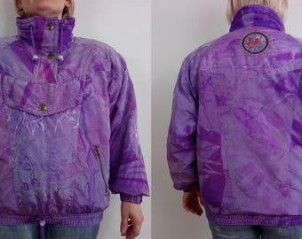 Women's Ski jacket, REDEO ski jacket Women's Size L Eur 42 Us 12 Uk 14, Purple floral, Shell 63% Nylon, Lining Nylon, snowboard jacket