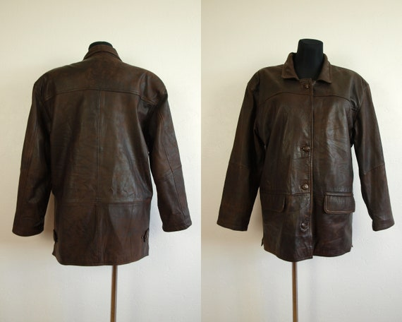 a25393124 Vintage leather jacket Brown womens Pilot jacket, KAVERI garment size M Eur  36, Us 6 Uk 8 Made in India distressed leather bomber jacket