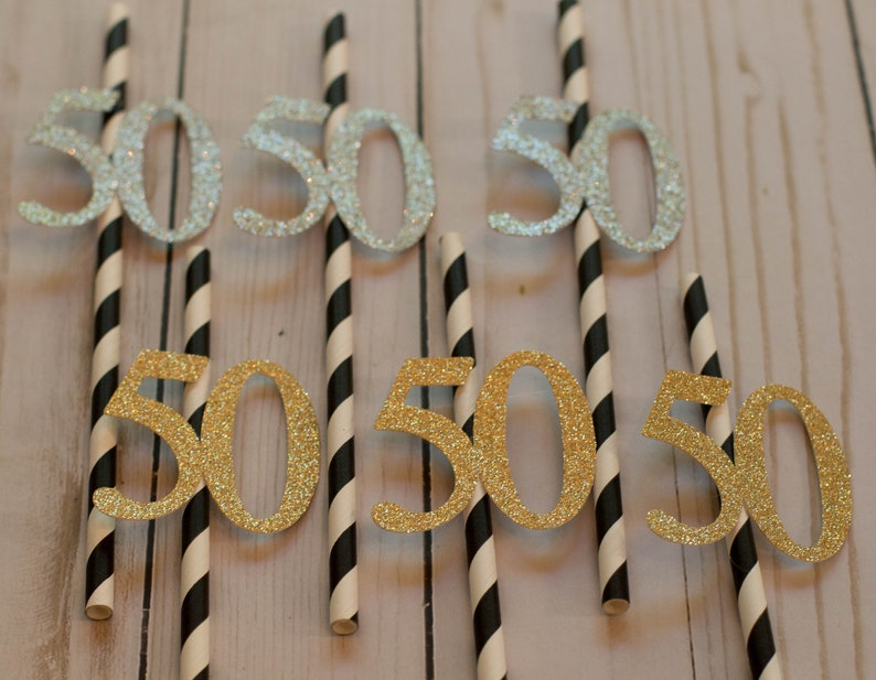 50th Birthday Party Decorations Straws Gold Or
