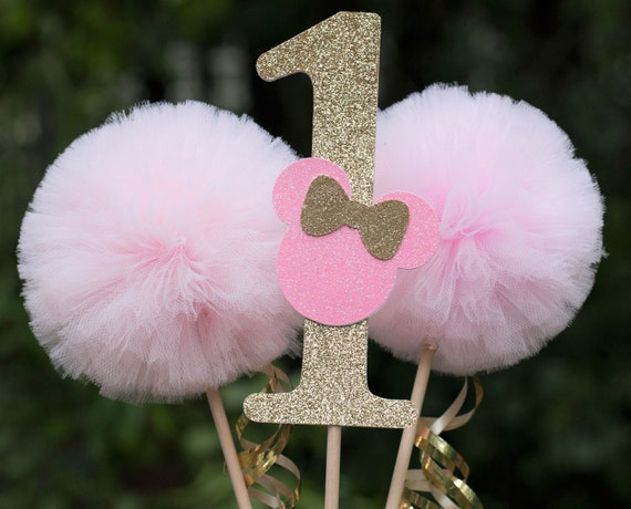 Minnie Mouse Party Decoration Pink And Gold First Birthday Minnie Mouse Decoration Centerpiece Table Decoration