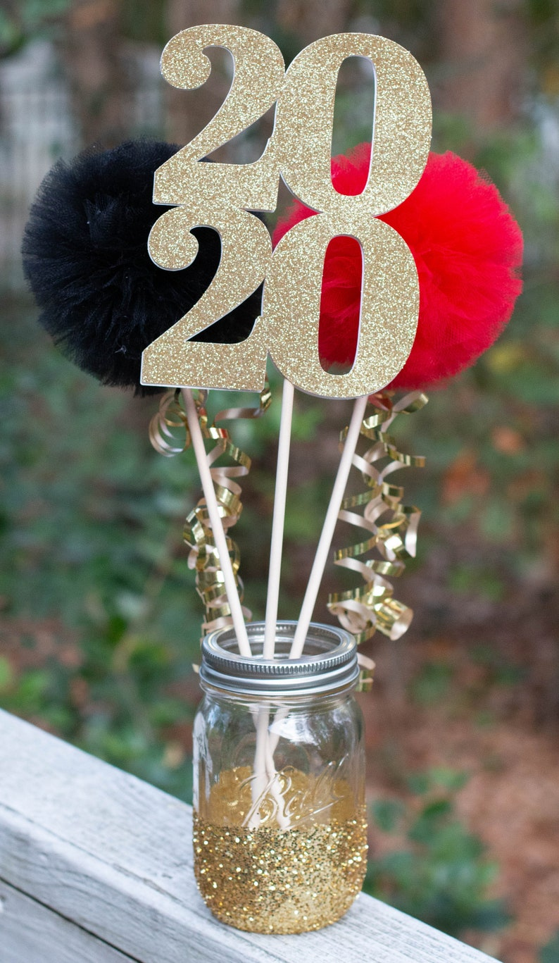 Graduation Party Decorations Class of 2020 Centerpiece Table Decoration Pom Pom Wands You Choose Colors