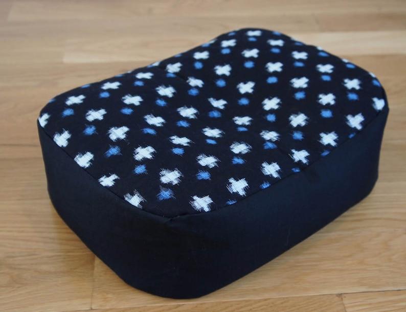 Vintage Kasuri Cotton Meditation Cushion with Organic image 0