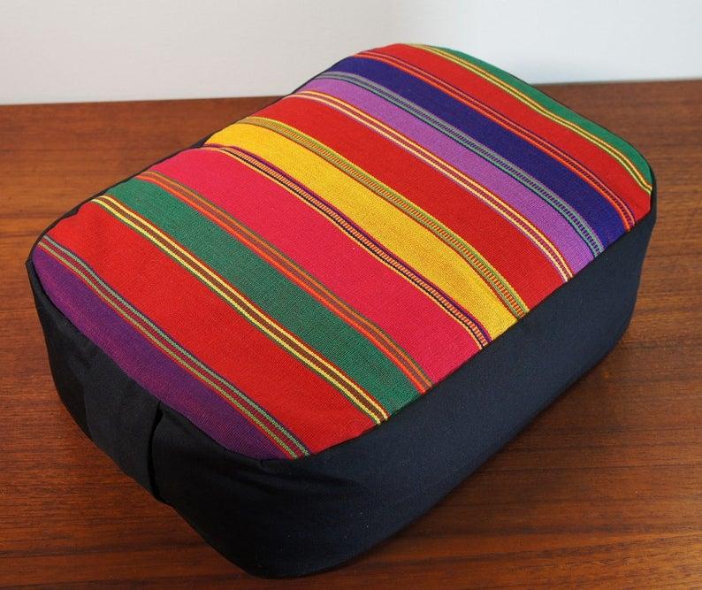 Organic Buckwheat hull Meditation Cushion with Hand Woven Fair image 0