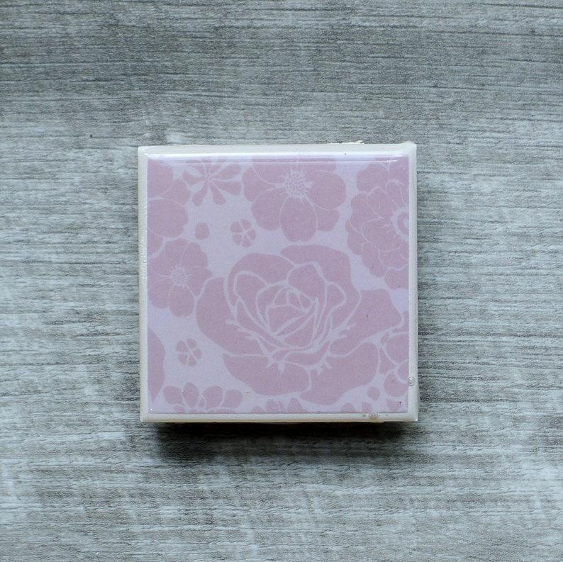 Flower Roses Ceramic Tile Magnet - Kitchen / Office / Locker / Fridge -  Floral Gifts / Decor / Designs / Patterns / Prints / Signs
