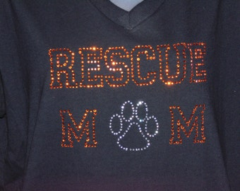 Rescue Mom Rhinestone T-Shirt