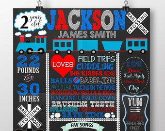Train birthday chalkboard, red blue train 1st birthday party decor, choo choo train party ideas, blue red train bday ANY AGE BRDAUT21