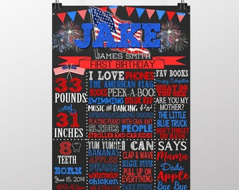 American birthday, red white and blue birthday, 4th of july birthday party, fourth of july 1st birthday board, flag birthday, BRDHDY01