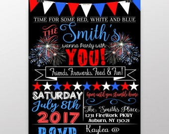 July 4th invitations, independence day invites, red white and blue invitations, modern 4th of july party, firework invite, INVAME04