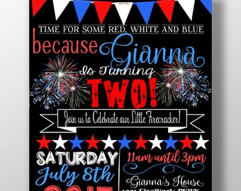 4th Of July Birthday Party Invitations Little Firecracker Red White And Blue Two Lots Fun For One American INVHDY01