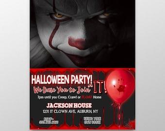 Clown invitations, scary clown party invites, scary clown halloween party, it themed halloween party, horror invitations, it party invites