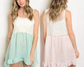Babydoll dress with ruffled hem, mint babydoll dress, pink babydoll dress, sleeveless drop waist dress in small, medium, large