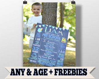Modern First Day of School Sign For Boys, First day of Kindergarten or ANY AGE, Chalkboard 1st day of school Signs, Back to School Signs