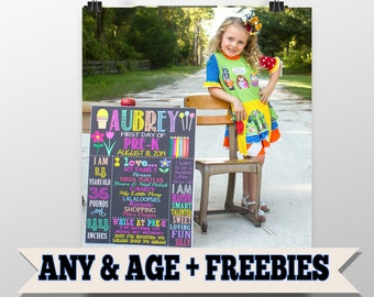 First day of school sign, first day of school picture props, sign for first day of school photo, 1st day of school chalkboard Style Sign Her