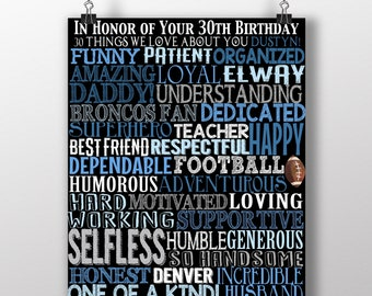 30 Things We Love About You Custom 30th Birthday Gift Unique Years Old 1989 Sign Bday Dirty