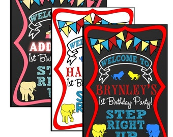 Circus birthday sign, carnival birthday sign, step right up welcome sign for circus birthday party, unique cirus birthday sign, SGNCIR02