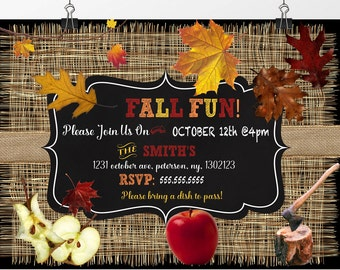 Unique fall festival invitations, pumpkin fall harvest party invites, apple invites, burlap fall invite, Autumn party invitations, INVFAL11