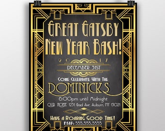 1920s great gatsby flapper new years eve party invite 50 gold and