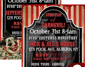 clown invitation etsy