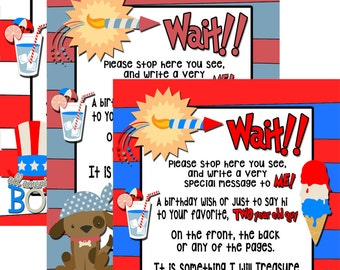 4th Of July Birthday Ideas Custom Kids Fourth Party Decorations Red White And Blue Guest Book Sign SGN4TH01