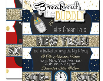 new years eve party invitations new year invites break out the bubbly cheer to a new year invites new year eve party invites invnye01