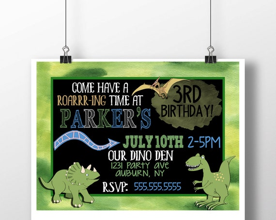 Dinosaur Birthday Invitation Custom Party Invite