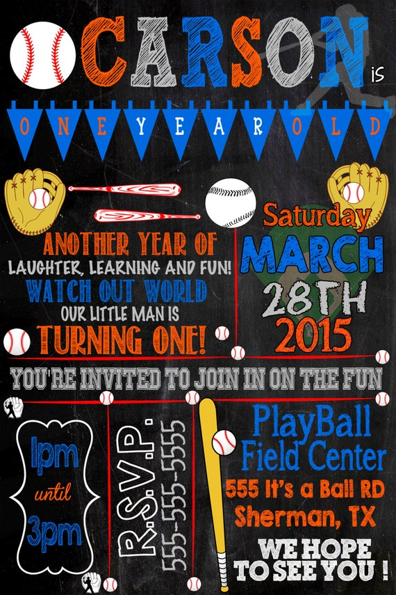 Baseball Birthday Party Invitations Custom
