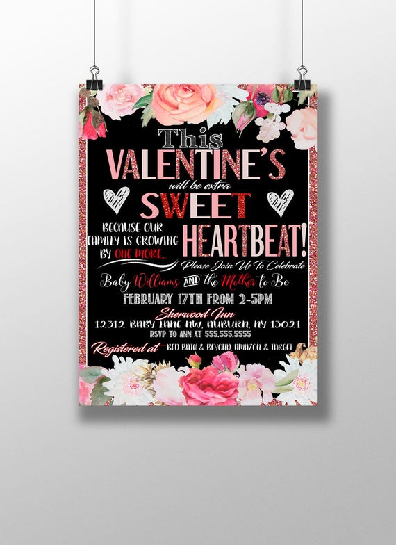 Valentines Day Baby Shower Invitations Valentines Shower Etsy