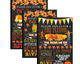 Unique fall festival invitations, pumpkin fall harvest party invites, pumpkin invites, scarecrow invites, Autumn party invitations, INVFAL06