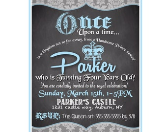 Prince birthday party invitations, unique royal prince birthday party invites, custom once upon a time birthday party ideas ID# INVPRI01